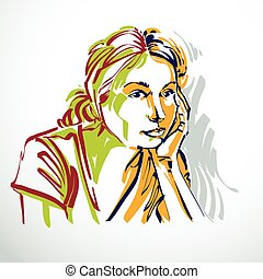 Vector portrait of attractive woman, facial expressions of young lady. Art illustration in minimalism style, outline.