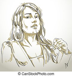 Vector portrait of attractive woman holding her eyeglasses and thinking about something, illustration of good-looking sexy lady. Person emotional face expression, visage features.