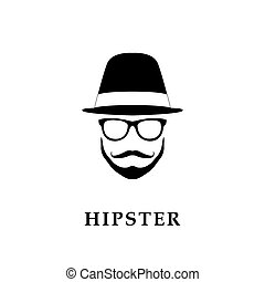Vector portrait of bearded man