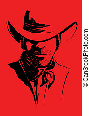 Vector portrait of cowboy on red. Strong man in cowboy hat