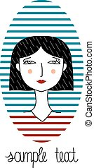 Vector portrait of fashion girl with haircut.