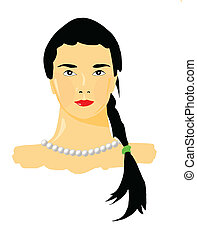 vector portrait of the girl on white background