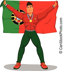 Vector portuguese players celebrate the championship. And raising the flag. on isolated