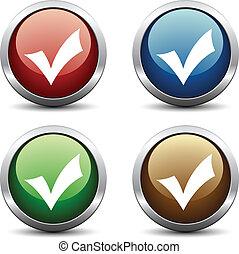 Vector positive checkmark buttons