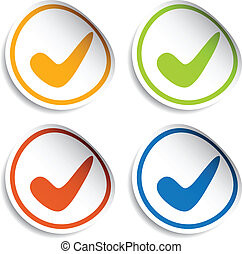 vector positive checkmark stickers