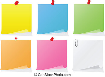 Vector Post-it Notes - Set of colorful vector post-it notes ...