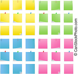 Vector Post-it Notes with Push Pins and Clips