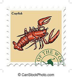 stamp with crayfish - vector, post stamp with crayfish