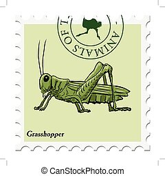 stamp with grasshopper