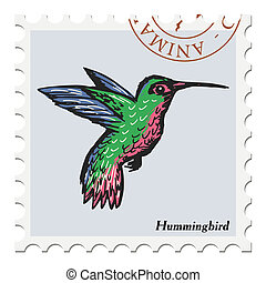 stamp with hummingbird
