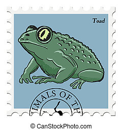 stamp with toad - vector, post stamp with toad