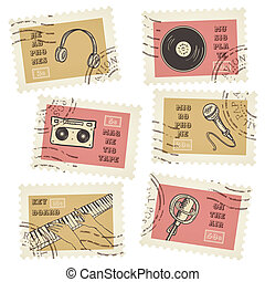Vector postage stamps collection, retro music equipment theme, canceled - decorative set for scrapbooking