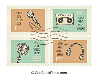 Vector postage stamps of retro music equipment theme, canceled, decorative set for scrapbooking - 4 separated elements