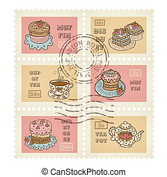 Vector postage stamps retro pastry theme, canceled, decorative 6 stamps set for scrapbooking