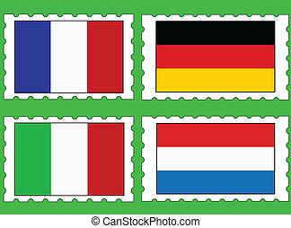 postage stamps with flags
