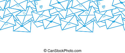 Postal letters envelopes line art horizontal seamless pattern background border