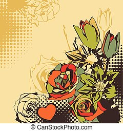 vector postcard with flowers.