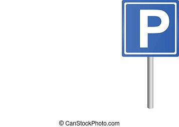 vector, poste, tráfico, señal de estacionamiento