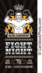 Vector poster announcement boxing championship