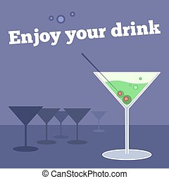poster, banner with goblet of martini and olives