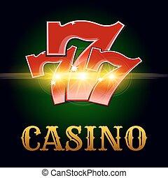 vector, poster, casino, gelukkig nummer