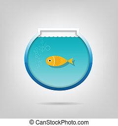 Creative aquarium with a small goldfis