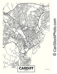 Vector poster detailed city map Cardiff
