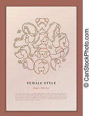 Vector poster female style with a circular concept of the heads of women and girls.