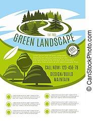Vector poster for green landscape design company