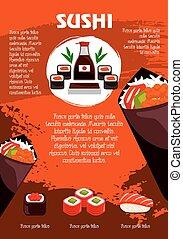 Vector poster for Japanese sushi restaurant - Sushi poster...