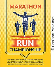 Vector poster for sport club. Marathon runners