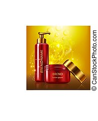 Vector poster in realistic style with red plastic cosmetic containers with golden caps on bright background