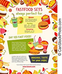 Vector poster menu for fast food restaurant