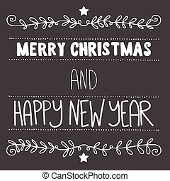 Vector poster. Merry Christmas and Happy new year