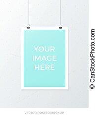 Vector Poster Mockup - Blank hanging A4 poster mockup...