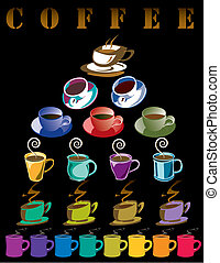 Vector poster of 22 coffee cups