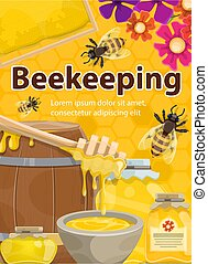 Vector poster of beekeeping honey and bees