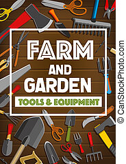 Vector poster of farm and garden tools - Farm tools and...
