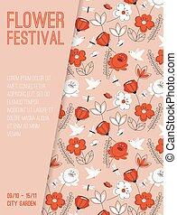Vector poster of Flower Festival at City Garden concept