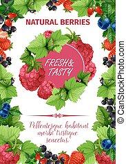 Vector poster of fresh garden berries