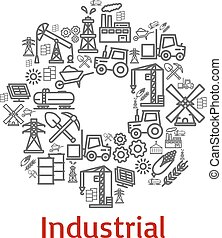 Vector poster of industrial farm agriculture icons