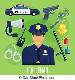 Vector poster of policeman occupation items