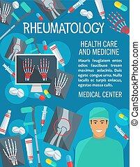 Vector poster of rheumatology medicine items