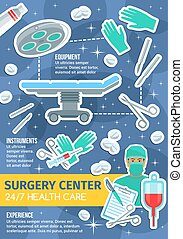 Vector poster of surgery medicine items