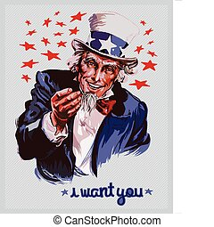 Vector poster of Uncle Sam or the national personification of the American government. Graphics are on different layers, so you can easily remove the text.