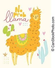 Vector poster or card with cute cartoon lama and cacti