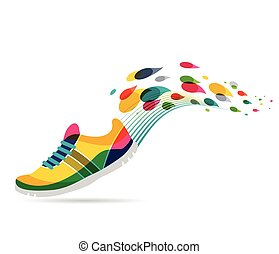 Vector poster - running and sport - Colorful vector poster -...