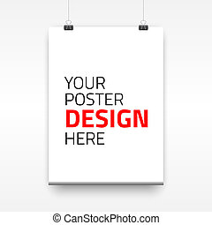 Vector poster template of a paper sheet. Vector illustration...