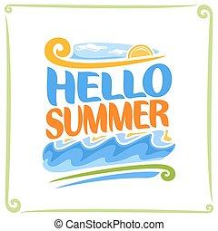 vector, poster, voor, zomer