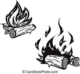 Vector poster with hand drawn bonfire set. Flame and firewood , burn,  fireplace  vector illustration